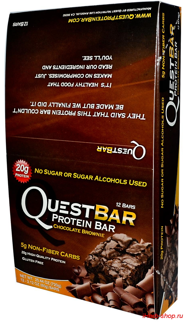 коробка с двенадцатью quest nutrition protein bar chocolate brownie pack